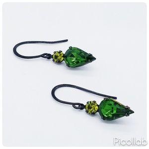 Vintage Emerald and Olivine Swavorski Earrings